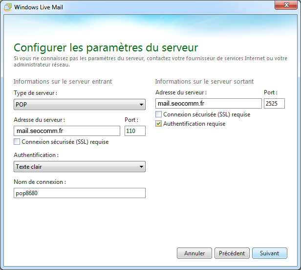 Configuration Windows live mail - étape 3